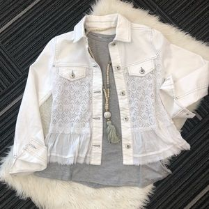 Kate & Mallory white lace and denim jacket Size XS